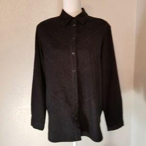 Allison Daley Black Suede Like Shirt Size 12